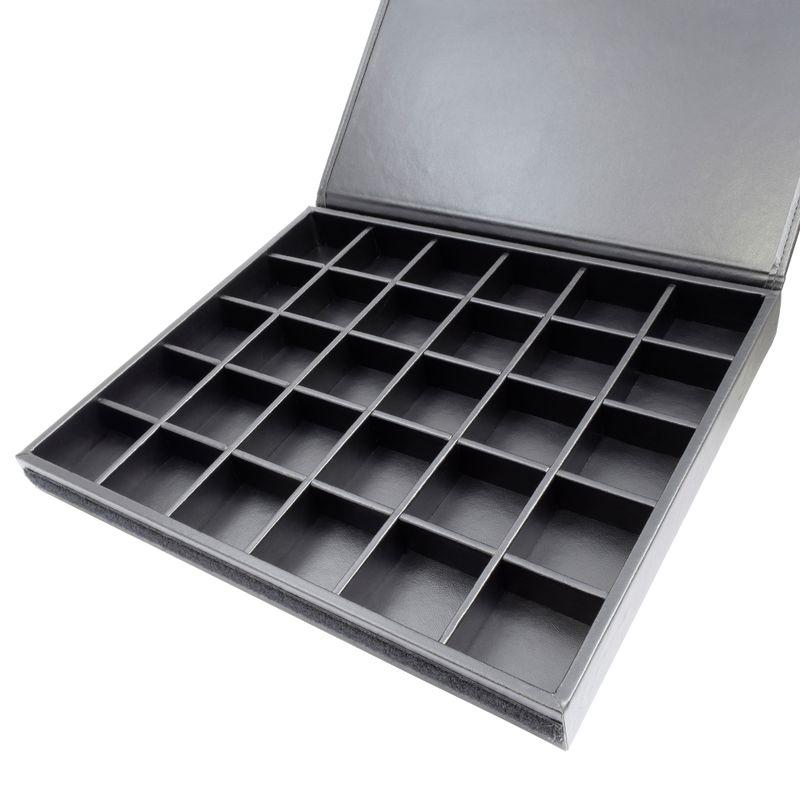 Bandeja-organizar-joias-de-napa-grande-30-quadriculados-aberto