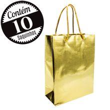 10 Sacolas de Papel Metálico 15x20x07