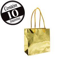10 Sacolas de Papel Metálico 12x12x06
